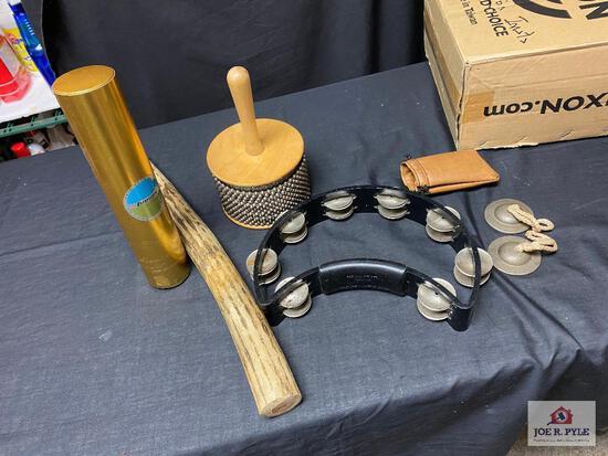 Lot: tambourine, rain stick, , Ludwig shake stick, finger cymbals, etc J.C.