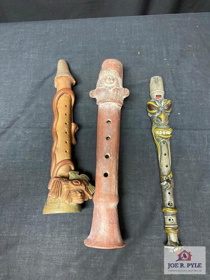 Lot stone flutes, South America