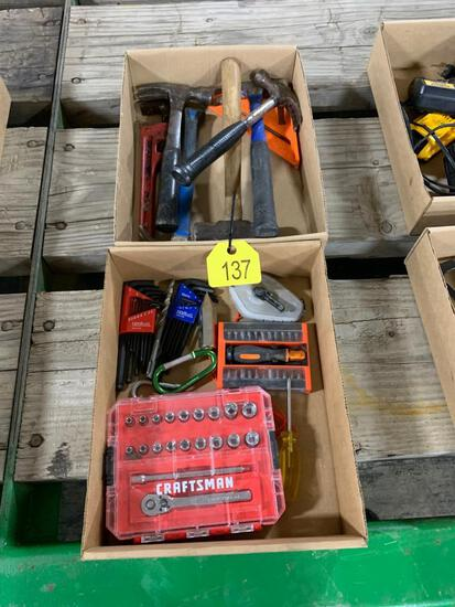 Boxes of Socket Set, Allen Wrenches, Hammers