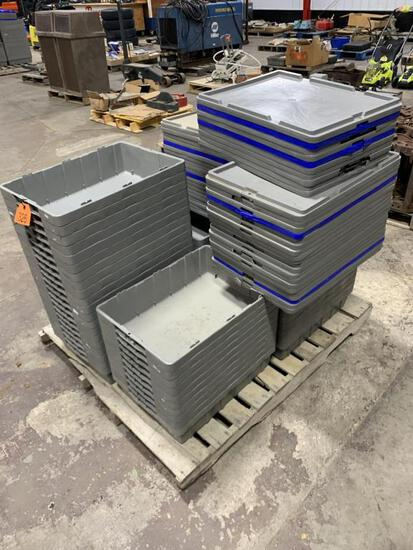 Pallet of 50 Rubber Containers w/ Lids