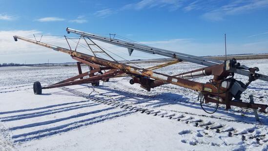 """Mayrath 8"""" x 62' grain auger, swing away hopper"""