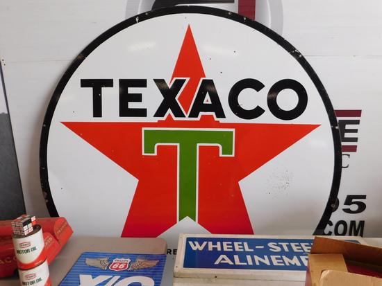 1951 Texaco Oil 6' Double Sided Porcelain Sign