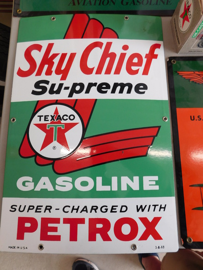 NOS 1963 Texaco Sky Chief Gasoline Single Sided Porcelain Pump Plate