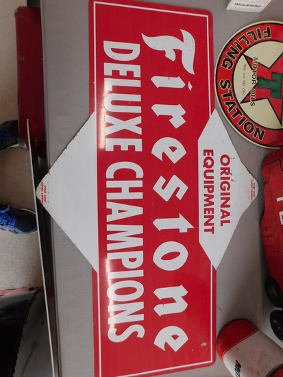 1960s Double Sided Firestone Tires Tin Display