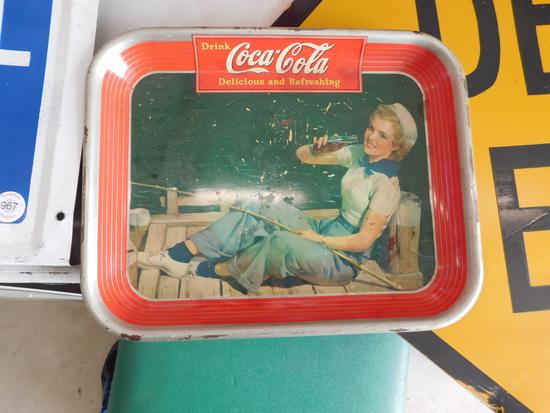 1940 Coca-Cola Sailor Fishing Girl Metal Diner Tray
