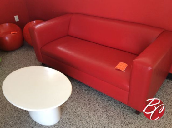 "71"" Red Sofa"