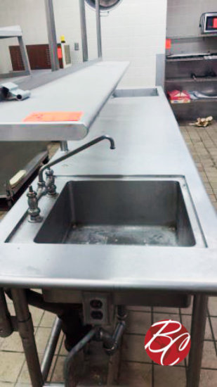 Stainless Steel Table w/ End Sinks and Shelf