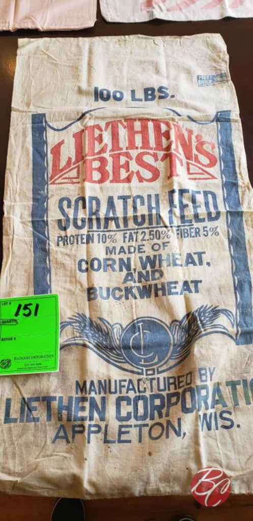 Lot: Vintage Liethen's Best Scratch Feed Bag | Proxibid Auctions