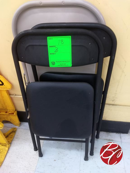 (2) Black Padded Chairs (1) Metal Chair