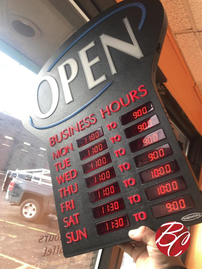 Open Sign With Operation Hours