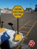 Caution Pedestrian Crossing Cinder Block Signs