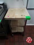 Butcher Block 3-tier Portable Cart 24