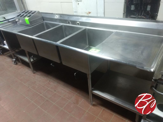 """Stainless 3-well 106"""" Sink"""