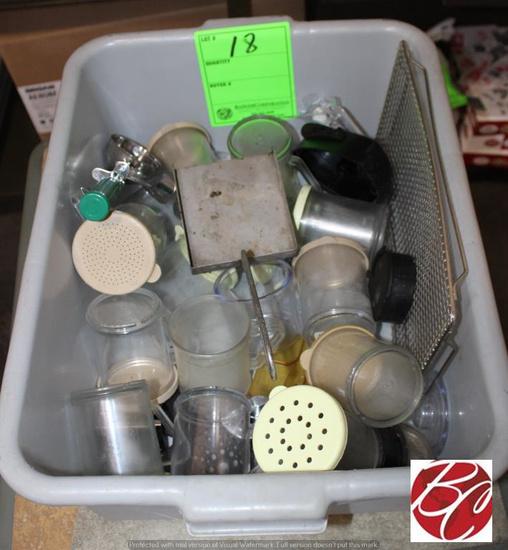 Plastic Tub Full of Miscellaneous Shakers