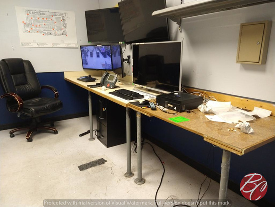 Desk, Filing Cabinet, Office Chair and Wall Coat