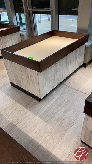 """Wood Produce Bins W/ Under Storage 58""""x36""""x30"""""""
