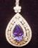 14K WHITE GOLD LADIES DIAMOND TANZANITE PENDANT W/