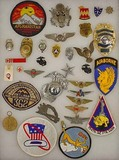 LARGE LOT OF MISC. PATCHES AND BADGES - INCL. MILI