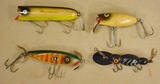 LOT OF 4 VINTAGE WOODEN FISHING LURES - INCL. HEDD