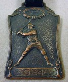 1924 BASEBALL LEAGUE AWARD WATCH FOB W/ STRAP - Ba