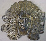 VINTAGE SITTING BULL BRONZE BELT BUCKLE - Marked S