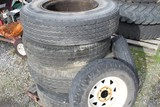6 Pcs.: (4) Truck Tires w/Rims; (2) Trailer Tires