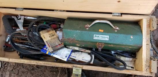 Ammunition Box with Metal Toolbox, Hand Tools, Automotive Belts, Breaker Bar