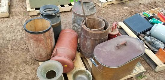10 PCS: Containers, Bowls; Water Pump; Barrels; Pony Express Spittoon