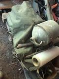 Metal Tool Box; Whiskey Jug; Hand Tools; Ammunition Box; Axe Handle