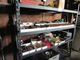 6 Ft. Rack With Drill Bits, Sanding Pads, Tap & Dies, Misc. Items.
