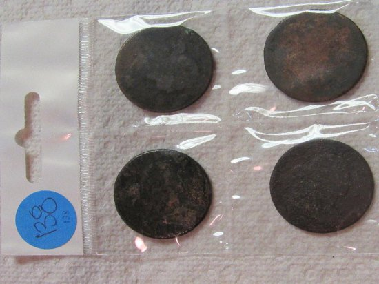 Sheet of 4 Draped Bust Large Cents