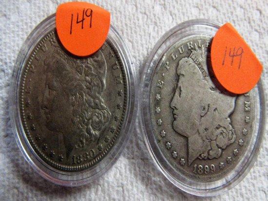 1880, 1889S Silver Morgans