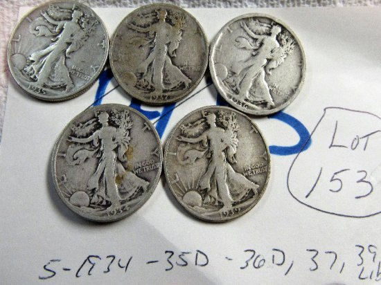 (5) Walking Liberty Halves 1934,35D,36D,37,39