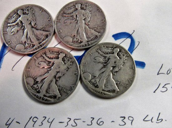 (4) Walking Liberty Halves 1934,35,36,39