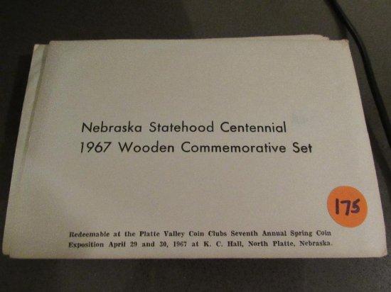 5 NE Statehood Cent 1967 Wooden Comm Set