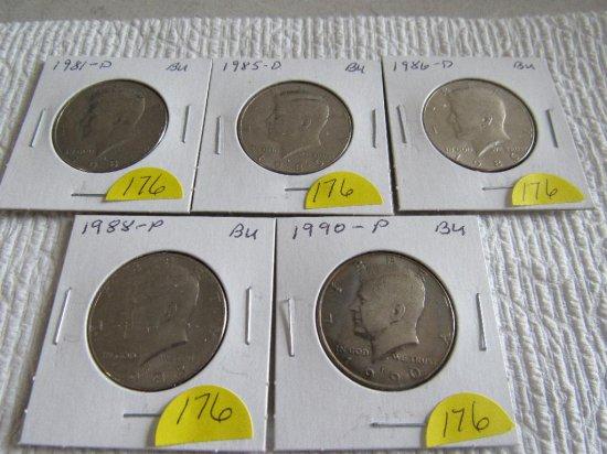 (5) Kennedy Half Dollars, all BU