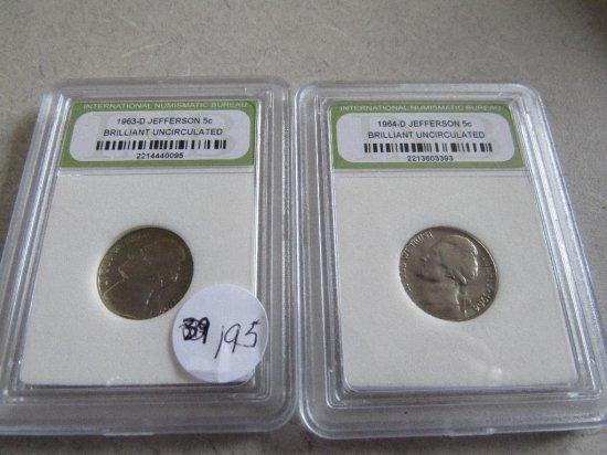 1963-D, '64-D Jefferson Nickels