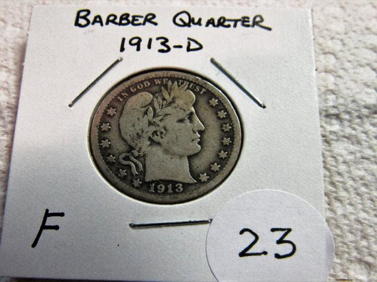 1913-D Barber Quarter