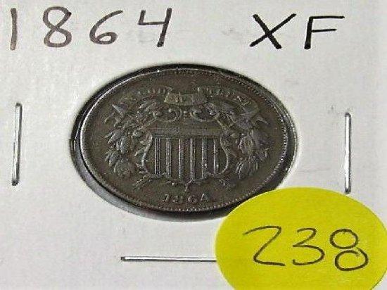 1864 XF 2 Cent Piece