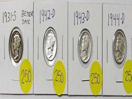 1931-S, 1942-D, 1943-D, 1944-D Mercury Dime