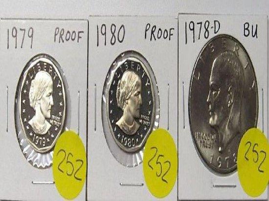 1979 Proof, 1980 Proof Susan B Anthony, 1978-D BU Ike Dollar