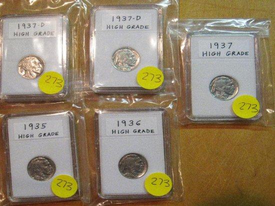 5 High Grade Buffalo Nickels