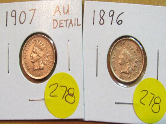 1896, 1907 Indian Cents