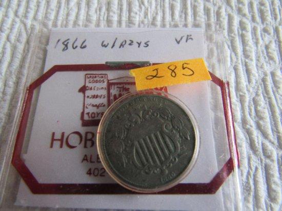 1866 Shield Nickel w/R