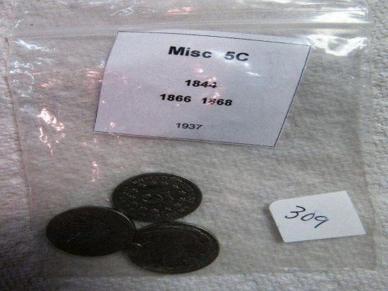 Miscellaneous Nickels 1844, 1866, 1868, 1937