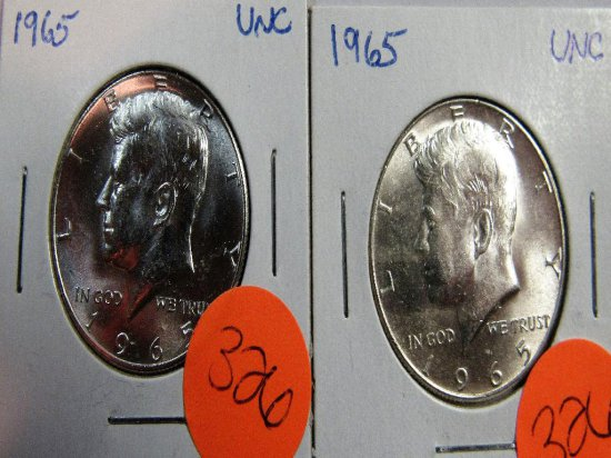 2 1965 UNC Kennedy Half Dollars