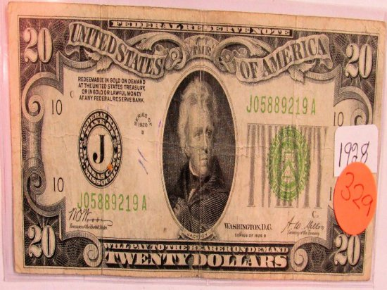 1928 Federal Reserve note 1928B 20 Dollars