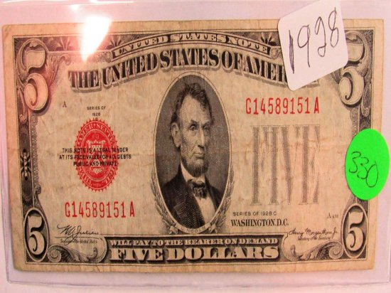 1928 Red Seal $5 Note 1928C