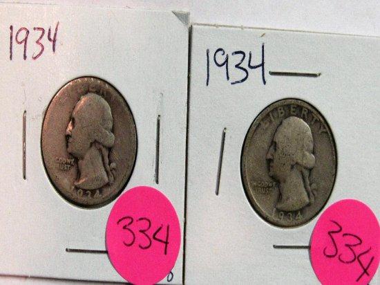 2 1934 Washington Quarters