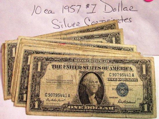 10 ea 1957 Silver Certificates